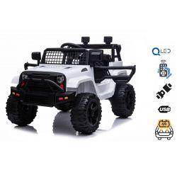 Mașină electrică OFF ROAD cu tracțiune pe roți din spate, alb, baterie 12V, șasiu înalt, scaun larg, osii suspendate, telecomandă de 2,4 GHz, player MP3 cu intrare USB / SD, lumini LED