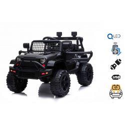 Mașină electrică OFF ROAD cu tracțiune pe roți din spate, negru, baterie 12V, șasiu înalt, scaun larg, osii suspendate, telecomandă de 2,4 GHz, player MP3 cu intrare USB / SD, lumini LED