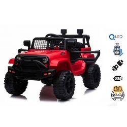 Mașină electrică OFF ROAD cu tracțiune pe roți din spate, roșu, baterie 12V, șasiu înalt, scaun larg, osii suspendate, telecomandă de 2,4 GHz, player MP3 cu intrare USB / SD, lumini LED