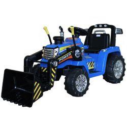 Tractor electric MASTER cu cupă, albastru, tracțiune spate, baterie de 12V, roți din plastic, motor 2 X 35W, scaun larg, telecomandă de 2,4 GHz, , MP3 player cu intrare Aux