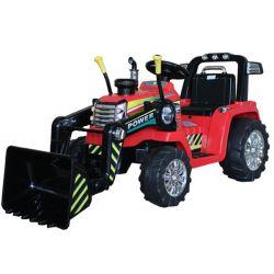 Tractor electric MASTER cu cupă, roșu, tracțiune spate, baterie de 12V, roți din plastic, motor 2 X 35W, scaun larg, telecomandă de 2,4 GHz, , MP3 player cu intrare Aux