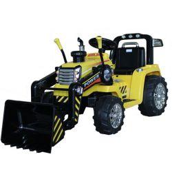 Tractor electric MASTER cu cupă, galben, tracțiune spate, baterie de 12V, roți din plastic, motor 2 X 35W, scaun larg, telecomandă de 2,4 GHz, , MP3 player cu intrare Aux
