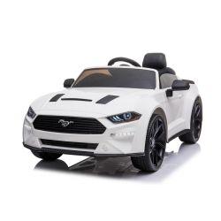 Mașină electrică de jucărie Ford Mustang 24V, albă, roți EVA moi, Motoare: 2 x 16.000 rpm, baterie 24V, lumini LED, iluminare din spate a roților și a șasiului, telecomandă de 2,4 GHz, MP3 Player, licență ORIGINALĂ