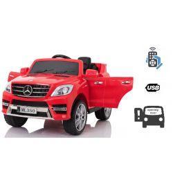Mașinuță electrică Mercedes-Benz ML 350, Roșie, licență originală,  uși care se deschid, Scaun din plastic, 2x motoare, baterie de 12V, telecomandă 2,4 Ghz, pornire ușoară, amortizoare