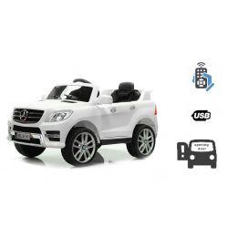 Mașinuță electrică Mercedes-Benz ML 350, Albă licență originală, uși care se deschid, Scaun din plastic, 2x motoare, baterie de 12V, telecomandă 2,4 Ghz, pornire ușoară, amortizoare