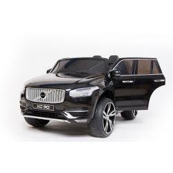 Mașinuță electrică pentru copii Volvo XC90, Negru, Scaun dublu din piele, MP3 player cu intrare Bluetooth și USB, Uși și capotă care se deschid, Baterie 12V10Ah, Roți EVA, Suspensii, Telecomanda de 2,4 GHz, Licențiată