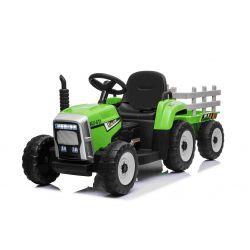 Tractor electric cu remorcă WORKERS, verde, tracțiune spate, baterie de 12V, scaun lat, telecomandă de 2,4 GHz, player MP3 cu port USB / Bluetooth, lumini LED