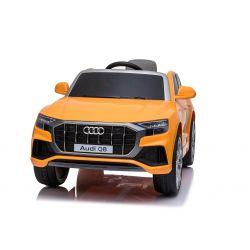 Mașinuță electrică Audi Q8, portocaliu, licențiat, scaun din piele, deschidere uși, motor 2 x 25W, baterie 12 V, telecomandă 2,4 Ghz, roți EVA moi, lumini LED, pornire lină, licență ORIGINALĂ