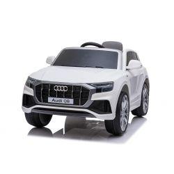Mașinuță electrică Audi Q8, alb, licențiat, scaun din piele, deschidere uși, motor 2 x 25W, baterie 12 V, telecomandă 2,4 Ghz, roți EVA moi, lumini LED, pornire lină, licență ORIGINALĂ