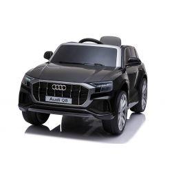 Mașinuță electrică Audi Q8, negru, licențiat, scaun din piele, deschidere uși, motor 2 x 25W, baterie 12 V, telecomandă 2,4 Ghz, roți EVA moi, lumini LED, pornire lină, licență ORIGINALĂ