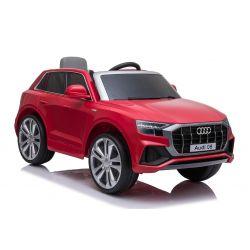 Mașinuță electrică Audi Q8, roșu, licențiat, scaun din piele, deschidere uși, motor 2 x 25W, baterie 12 V, telecomandă 2,4 Ghz, roți EVA moi, lumini LED, pornire lină, licență ORIGINALĂ