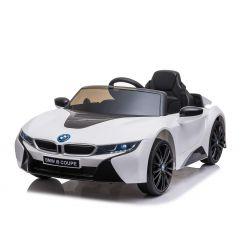 Mașinuță electrică BMW i8, Alb, Licență Originală, Scaun din piele, Deschidere uși, Motor 2x 25W, Baterie 12 V, Telecomanda 2.4 Ghz, Roți EVA moi, Suspensii, Pornire lină
