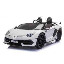 Mașină electrică de jucărie Lamborghini Aventador 12V, două locuri, alb, telecomandă de 2,4 GHz, intrare USB / SD, suspensie, ușă cu deschidere verticală, roți EVA moi, 2 X MOTOR, licență ORIGINALĂ