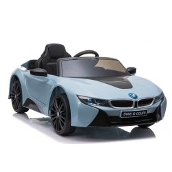 Mașinuță electrică BMW i8, Albastru, Licență Originală, Scaun din piele, Deschidere uși, Motor 2x 25W, Baterie 12 V, Telecomanda 2.4 Ghz, Roți EVA moi, Suspensii, Pornire lină