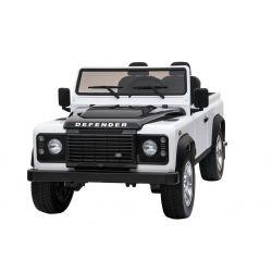 Masina electrica Ride-On Toy Land Land Rover Defender, Licențiată, Radio cu intrare USB / TF, Control de la distanță 2.4Ghz, Baterie 2 x 12V / 7AH, 4X MOTOR, Scaun din piele dublă, Roți EVA, Alb