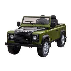 Masina electrica Ride-On Toy Land Land Rover Defender, Licențiată, Radio cu intrare USB / TF, Control de la distanță 2.4Ghz, Baterie 2 x 12V / 7AH, 4X MOTOR, Scaun din piele dublă, Roți EVA, Verde