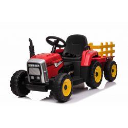 Tractor electric cu remorcă WORKERS, roșu, tracțiune spate, baterie de 12V, scaun lat, telecomandă de 2,4 GHz, player MP3 cu port USB / Bluetooth, lumini LED