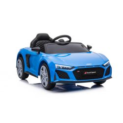 Noua mașină electrică de jucărie Audi R8 Spyder, scaun din plastic, roți din plastic, intrare USB / SD, baterie 12V, MOTOR 2 X 25W, albastru, licență ORIGINALĂ
