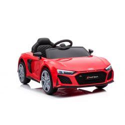 Noua mașină electrică de jucărie Audi R8 Spyder, scaun din plastic, roți din plastic, intrare USB / SD, baterie 12V, MOTOR 2 X 25W, roșu, licență ORIGINALĂ