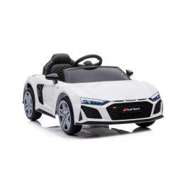 Noua mașină electrică de jucărie Audi R8 Spyder, scaun din plastic, roți din plastic, intrare USB / SD, baterie 12V, MOTOR 2 X 25W, alb, licență ORIGINALĂ