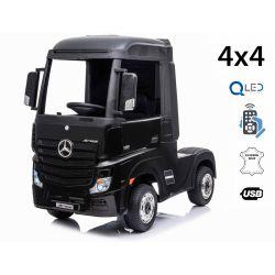 Mașinuță electrică pentru copii Mercedes-Benz Actros, Negru, Scaun din piele, MP3 player cu intrare USB, 4x4, 2x 12V7Ah baterie, roți EVA, suspensii, telecomandă 2,4 GHz, licențiată