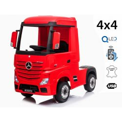Mașinuță electrică pentru copii Mercedes-Benz Actros, Roșu, Scaun din piele, MP3 player cu intrare USB, 4x4, 2x 12V7Ah baterie, roți EVA, suspensii, telecomandă 2,4 GHz, licențiată