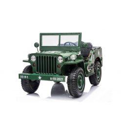 Mașinuță electrică pentru copii SUA ARMY-4X4, Verde, cu trei locuri, MP3 Player cu intrare USB / SD, suspensie integrală, lumini LED, parbriz pliabil, baterie 12V14AH, roți EVA, scaune din piele, telecomandă de 2,4 GHz,  4x4