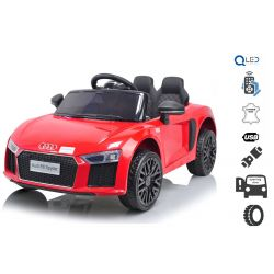Mașinuță electrică Audi R8 Small, Roșu, licență original, alimentate cu baterii, deschidere uși, motor 2x 25W, baterie 12 V, telecomandă de 2,4 Ghz, roți EVA moi, suspensii, pornire ușoară