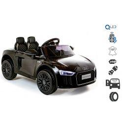 Mașinuță electrică Audi R8 Small, negru, licență original, alimentate cu baterii, deschidere uși, motor 2x 25W, baterie 12 V, telecomandă de 2,4 Ghz, roți EVA moi, suspensii, pornire ușoară