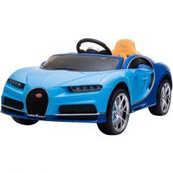 Bugatti Chiron, Albastru, Licență Originală, Baterie, Deschidere Portiere, Scaun din piele, 2 x 12V Motoare, Telecomandă 2,4 Ghz, Roți spuma EVA