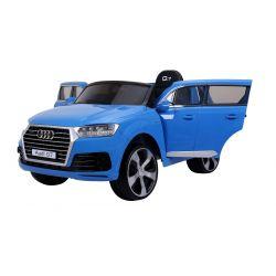 AUDI Q7 Quattro, Albastru, Licență Originală, uși care se deschid, 1 Scaun, 2 x Motoare, Baterie 12V, Telecomandă 2,4 Ghz, roți moi EVA, Pornire lină
