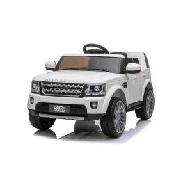 Mașină electrică Land Rover Discovery, alb, cu licență originală, alimentată cu baterie, lumini LED, deschiderea  ușilor și a capotei, motoare 2 x 35W, baterie de 12 V, telecomandă de 2,4 Ghz, suspensie, pornire lină, port USB / AUX