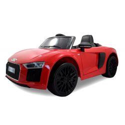 Mașinuță electrică pentru copii Noul Audi R8 Spyder, Roșu, Licență Originală, cu Baterii, Uși care se deschid, Scaun din Piele, 2x Motoare, Baterie de 12 V, Telecomandă 2.4 Ghz, roți ușoare EVA,  pornire Lină,  USB,SD