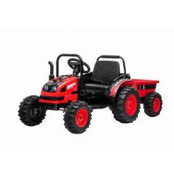 Tractor electric pentru copii POWER cu remorcă, roșu, tracțiune spate, baterie de 12V, roți din plastic, scaun larg, telecomandă de 2,4 GHz, MP3 player cu USB, suspensii roți față, lumini LED