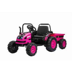 Tractor electric pentru copii POWER cu remorcă, roz, tracțiune spate, baterie de 12V, roți din plastic, scaun larg, telecomandă de 2,4 GHz, MP3 player cu USB, suspensii roți față, lumini LED