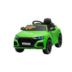 Mașină electrică de jucărie Audi RS Q8, 12V, telecomandă de 2,4 GHz, intrare USB / SD, lumini LED, baterie de 12V, roți EVA moi, MOTOR 2 X 35W, verde, licență ORIGINALĂ