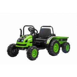 Tractor electric pentru copii POWER cu remorcă, verde, tracțiune spate, baterie de 12V, roți din plastic, scaun larg, telecomandă de 2,4 GHz, MP3 player cu USB, suspensii roți față, lumini LED