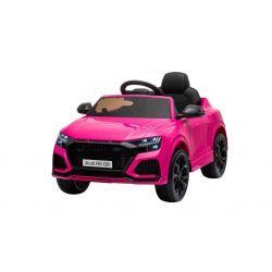Mașină electrică de jucărie Audi RS Q8, 12V, telecomandă de 2,4 GHz, intrare USB / SD, lumini LED, baterie de 12V, roți EVA moi, MOTOR 2 X 35W, roz, licență ORIGINALĂ
