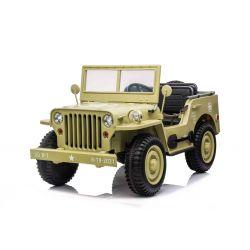 Mașinuță electrică pentru copii SUA ARMY-4X4, cu trei locuri, MP3 Player cu intrare USB / SD, suspensie integrală, lumini LED, parbriz pliabil, baterie 12V14AH, roți EVA, scaune din piele, telecomandă de 2,4 GHz,  4x4