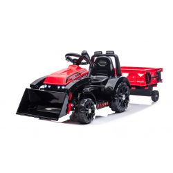 Tractor electric FARMER cu cupă și remorcă, roșu, tracțiune spate, baterie 6V, roți din plastic, scaun larg, motor de 20W, comandă volan, lumini LED