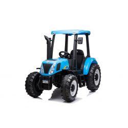 Tractor electric NEW HOLLAND-T7 12V, un loc, albastru, scaun din piele, MP3 Player cu intrare USB, tracțiune spate, motor 2x 35W, roți EVA, telecomandă de 2,4 GHz, licență originală