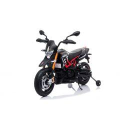 Motocicletă electrică APRILIA DORSODURO 900, Licențiată, baterie 12V, roți EVA moi, 2 x 18W Motoare, Suspensie, cadru metalic, furcă metalică, roți auxiliare, negru