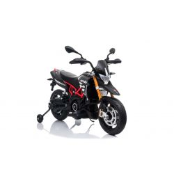 Motocicletă electrică APRILIA DORSODURO 900, Licențiată, baterie 12V, roți EVA moi, 2 x 18W Motoare, Suspensie, cadru metalic, furcă metalică, roți auxiliare, gri