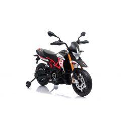 Motocicletă electrică APRILIA DORSODURO 900, Licențiată, baterie 12V, roți EVA moi, 2 x 18W Motoare, Suspensie, cadru metalic, furcă metalică, roți auxiliare, roșu