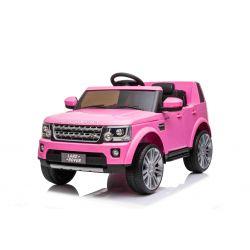 Mașină electrică Land Rover Discovery, roz, cu licență originală, alimentată cu baterie, lumini LED, deschiderea  ușilor și a capotei, motoare 2 x 35W, baterie de 12 V, telecomandă de 2,4 Ghz, suspensie, pornire lină, port USB / AUX
