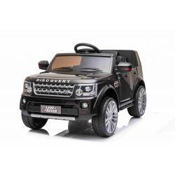 Mașină electrică Land Rover Discovery, neagră, cu licență originală, alimentată cu baterie, lumini LED, deschiderea  ușilor și a capotei, motoare 2 x 35W, baterie de 12 V, telecomandă de 2,4 Ghz, suspensie, pornire lină, port USB / AUX
