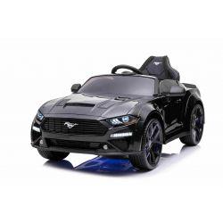 Mașină electrică de jucărie Ford Mustang 24V, negru, roți EVA moi, Motoare: 2 x 16.000 rpm, baterie 24V, lumini LED, iluminare din spate a roților și a șasiului, telecomandă de 2,4 GHz, MP3 Player, licență ORIGINALĂ