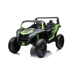 Mașină electrică UTV XXL 24V, verde, cu două locuri, motor de 180 W, roți gonflabile din cauciuc, osii spate cu arc, frână cu disc, scaun tapițat, volan reglabil, bluetooth, player MP3 cu intrare USB / SD