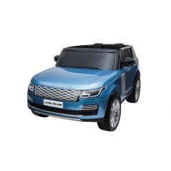 Mașinuță electrică pentru copii RANGE ROVER, vopsit albastru, scaun dublu din piele, ecran LCD cu intrare USB, 4x4, baterie 2x 12V7Ah, roți EVA, suspensii, pornire cu cheie, telecomandă Bluetooth de 2,4 GHz