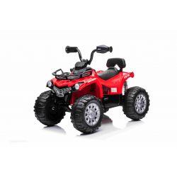 QUAD electric SUPERPOWER 12V, roșu, Roți din plastic cu bandă de cauciuc, motor 2 x 45W, scaun din plastic, suspensie, baterie 12V7Ah, MP3 Player